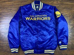 Golden State Warriors Starter Jacket Size Large Blue Satin