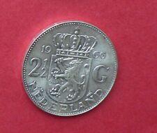 Dutch SILVER  coin  QUEEN JULIANA 2 1/2 guilder 2 1/2  gulden    dated 1966  (c)