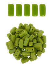 50 CzechMates Brick Opaque Olive 2 Hole Two Hole Glass Beads 3x6mm