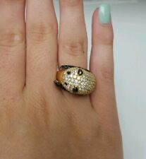**STERLING SILVER GOLD PLATED BLACK & WHITE CZ PANDA RING SIZE 7**
