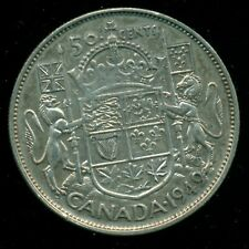 """1949 """"Hoof"""" King George VI, Silver Fifty Cent Piece, Hoof over """"9""""  F212"""
