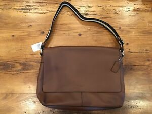 Men's Coach Charles Leather Messenger Bag Briefcase - Saddle Brown NWT