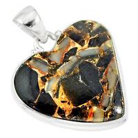 16.20cts Natural Black Australian Obsidian 925 Sterling Silver Pendant R83229