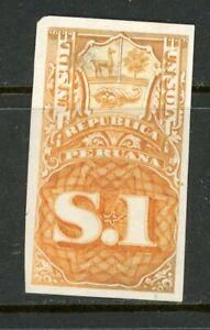 Peru Documentary Revenue 1870-71 1 Sol A&M 15P- Plate Proof MNG-