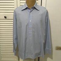 GIAMPAOLO Men's Long Sleeve Dress Shirt Half Button White Blue Size 17 1/2 - 44