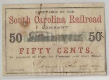 South Carolina Railroad, $0.50, of 1864 issue.