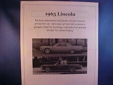 1965 Lincoln Continental factory cost/dealer sticker prices for car + options $$