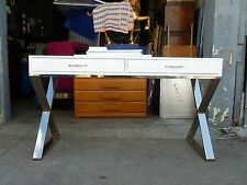 LARGE CONSOLE TABLE WITH CHROMED STEEL X STRETCHER BASE STYLE OF MILO BAUGHMAN P