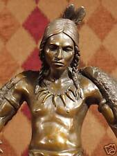 *True Bronze Metal Statue Marble Proud Brave Native Indian Fire Dancer Sculpture