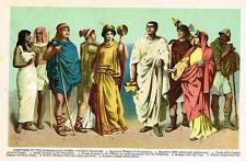 """Chromolithograph - """"COSTUMES OF THE ROMANS & OTHER ANCIENT PEOPLES"""" - c1890"""