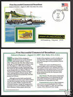 ROBERT FULTON'S CLERMONT Steamboat Commem. Cover STAMP
