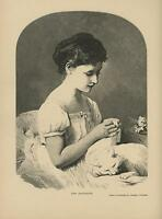 ANTIQUE YOUNG BEAUTIFUL VICTORIAN GIRL WHITE DRESS ROSE CAT SLEEPING LAP PRINT