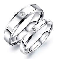 Coppia anelli fedi fedine acciaio inox fidanzamento semplici lucide con zircone