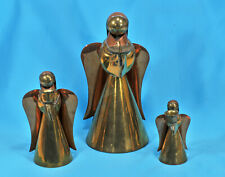 x3 Brass Angels Christmas Decoration ~ Candle Holders