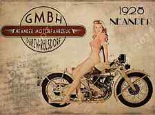 Neander 1928 Motorcycle Metal Sign,1940s Sexy Blonde Pinup, Mancave,  Den Decor