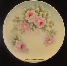 Vintage Haviland Limoges China Plate Hand Painted with Pink Roses Porcelain