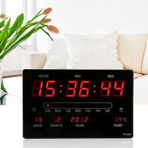 Digital LED Wall Clock Large Display Time Calendar Temp Desk Table Clock 12/24h