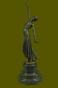 BRONZE SCULPTURE AFTER CHIPARUS PAINTED FEMALE DRESS SIGNED FIGURINE DECO SALE