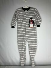 Carter's boy's size 24 months one-piece zip front fleece pajamas gray & white
