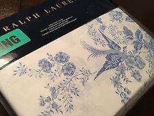 Ralph Lauren DAUPHINE KING Duvet Cover Light Blue White Floral & Bird Toile New