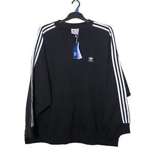 Adidas Jumper 3XL XXXL Black Sweatshirt Long Sleeve Crew 3 Stripes Sweater NEW