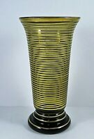 Rare Vintage 1960s Glass Bouquet Vase Smoked Amber With Gold Stripe Bands Heavy
