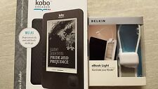 NEW KOBO EREADER WIRELESS WIFI 1GB 6 IN AND BELKIN EBOOK LIGHT