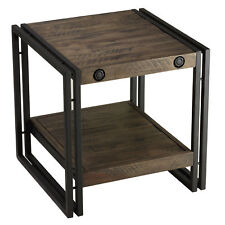 Cortesi Home Penni End Table, Solid Wood with Black Metal Frame, Dark Grey