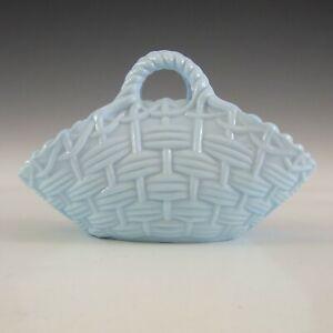 MARKED Sowerby Victorian Blue Milk Glass Vintage Basket Bowl