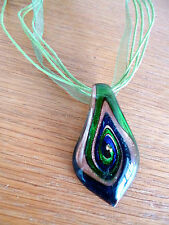 Glittery Glass Pendent   in Green Gold Navy Blue Glass   Strung on Ribbon