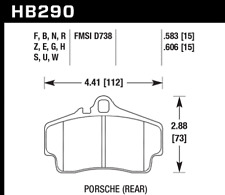 Hawk Disc Rear Brake Pad for 06-12 Porsche Cayman S # HB290F.583
