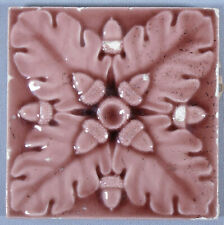 Trent Tile Victorian Pink Acorns & Oak Leaves Antique Ceramic Majolica Pottery