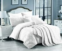 Marguerite Quilted Quilt Cover or Coverlet Set by Georges Fine Linen | White