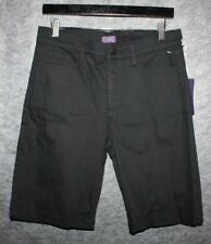 NYDJ Not Your Daughters Jeans Black Stretch Denim Long Bermuda Shorts size 0 New