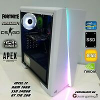 PC GAMING COMPUTER FISSO LED RGB i7 16GB RAM 240GB SSD HD NVIDIA GT710 2GB HDMI
