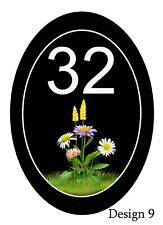 House,door,caravan Oval Floral Plaque/sign/plate Your number/road name