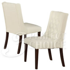 Set of 2 Dining Side Chairs Tufted Back White Comfort Upholstery Pu Leather