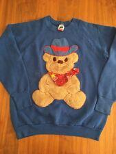 Vintage Blue TEDDY BEAR Cowboy Sweatshirt SZ LARGE  Retro Funny Weird