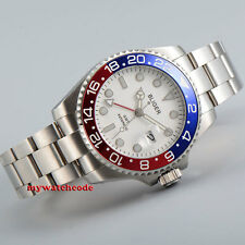 40mm Bliger white dial red GMT luminous sapphire glass automatic mens watch B193