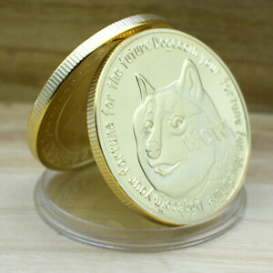 Gold Dogecoin Coin Commemorative Coin Cute Dog Pattern Dog Souvenir Collection