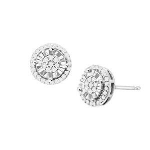 1/4 ct Diamond Halo Stud Earrings in Sterling Silver