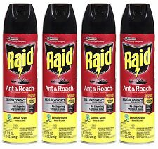 4 Raid Ant & Roach LEMON SCENT Kills On Contact! Aerosol Spray 17.5 oz