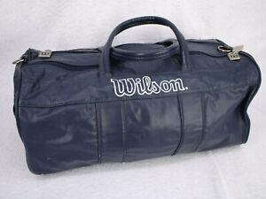 Vtg WILSON Sports Navy Blue Pleather Duffel Tennis Gym Work Out Duffle Bag