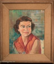 Mid Century Female Oil Painting Portrait, Illegibly Signed & Dated 1954