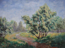 French artist, watercolor. Path through a landscape. Spring c1930