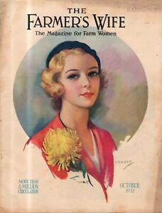 """1932 Farmer's Wife October - Mt Vernon; Wisconsin women; how to """"break"""" a baby"""