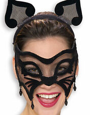 Black Cat Mesh Mask Mardi Gras Masquerade Party New Halloween Costume Accessory