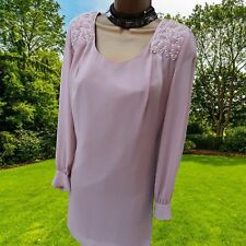 Next Blush Pink Padded Shoulder Chiffon Evening Shift Cocktail Dress 10 UK