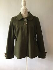 TOPSHOP olive Green Wool Blend Coat Size 14