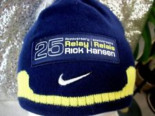 "RICK HANSEN ""Man In Motion"" 25th Anniversary Relay BEANIE HAT Blue Yellow  NIKE"
